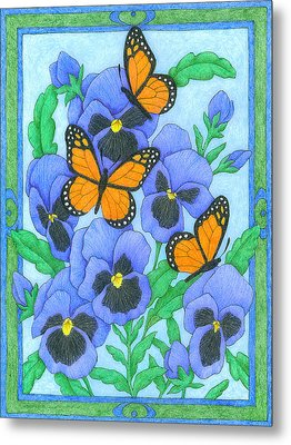 Butterfly Idyll-pansies Metal Print