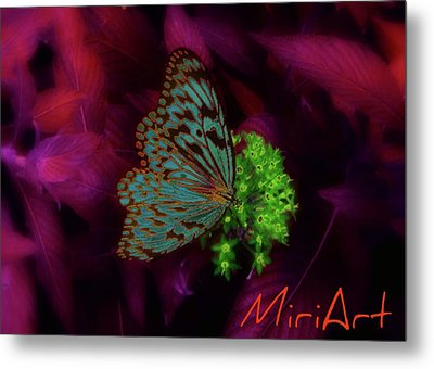 Metal Print featuring the photograph Butterfly In Fusia by Miriam Shaw