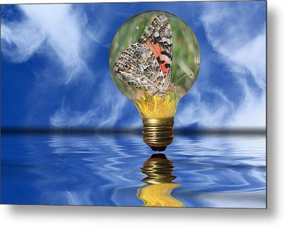 Butterfly In Lightbulb - Landscape Metal Print by Shane Bechler