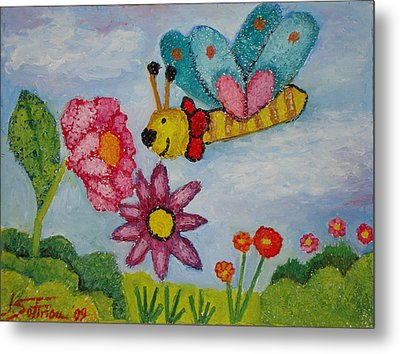 Butterfly In The Field Metal Print by Ioulia Sotiriou