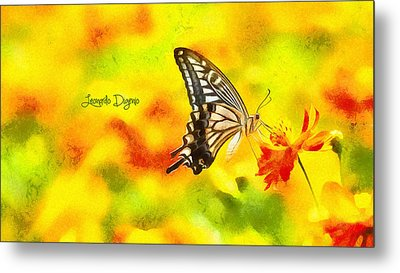 Butterfly On Flower Metal Print by Leonardo Digenio