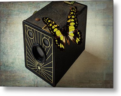 Butterfly On Old Camera Metal Print