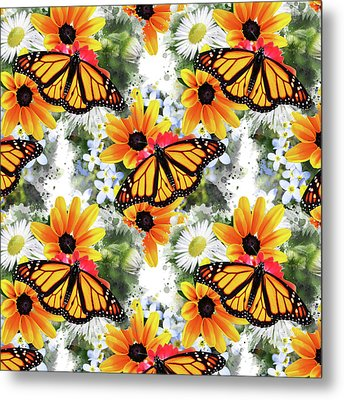 Metal Print featuring the mixed media Butterfly Pattern by Christina Rollo