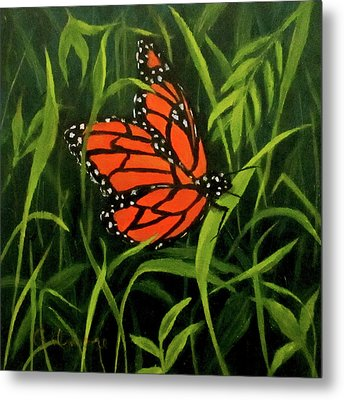 Metal Print featuring the painting Butterfly by Roseann Gilmore