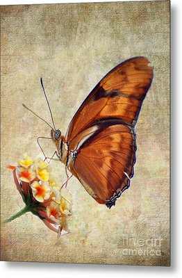 Metal Print featuring the pyrography Butterfly by Savannah Gibbs