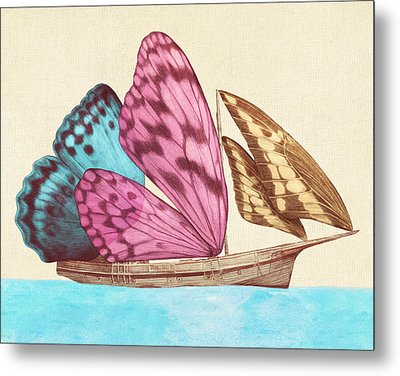 Butterfly Ship Metal Print
