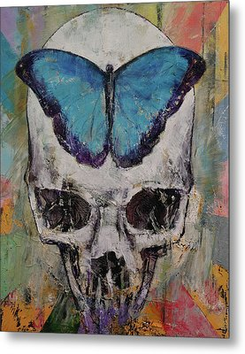 Butterfly Skull Metal Print by Michael Creese