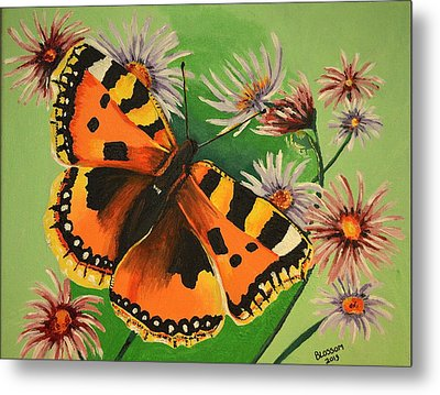 Butterfly With Asters Metal Print