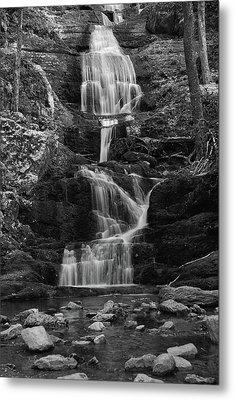 Buttermilk Falls In Black And White Metal Print by Raymond Salani III