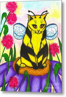 Buzz Bumble Bee Fairy Cat Metal Print by Carrie Hawks