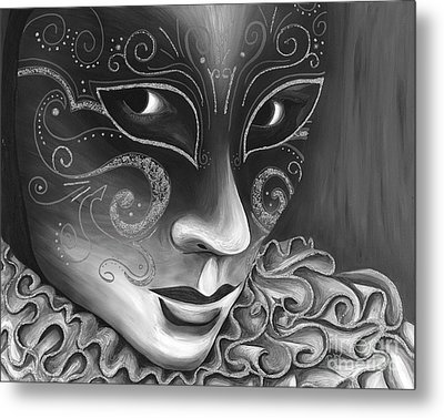 Bw- Carnival Mask Metal Print by Patty Vicknair