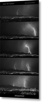Bw Lightning Thunderstorm Sequence Metal Print by James BO  Insogna