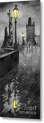 Bw Prague Charles Bridge 01 Metal Print by Yuriy  Shevchuk