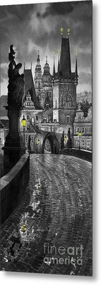 Bw Prague Charles Bridge 03 Metal Print by Yuriy  Shevchuk