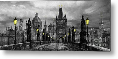 Bw Prague Charles Bridge 04 Metal Print by Yuriy  Shevchuk