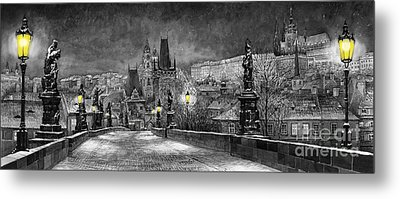 Bw Prague Charles Bridge 06 Metal Print