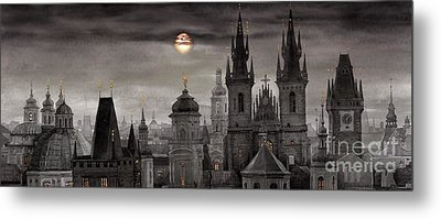 Bw Prague City Of Hundres Spiers Metal Print by Yuriy  Shevchuk