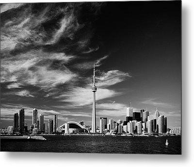 Bw Skyline Of Toronto Metal Print by Andriy Zolotoiy