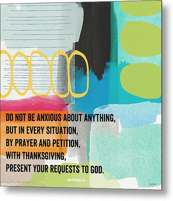 By Prayer And Petition- Contemporary Christian Art By Linda Wood Metal Print by Linda Woods