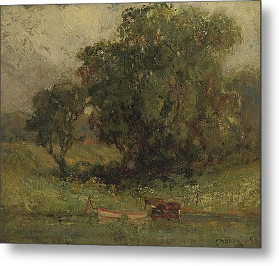 By The Lake Metal Print by Edward Mitchell Bannister