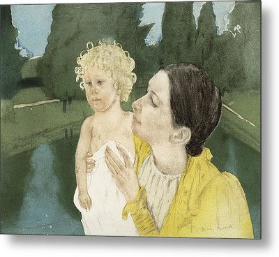 By The Pond Metal Print by Mary Stevenson Cassatt