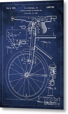 Bycicle Attached Toy Machine Gun Patent Blueprint, Year 1951 Blue Vintage Art Metal Print