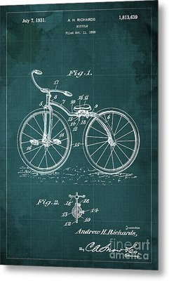 Bycicle Patent Blueprint Year 1930 Green Vintage Poster Metal Print