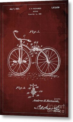 Bycicle Patent Blueprint Year 1930 Red Vintage Poster Metal Print
