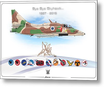 Metal Print featuring the digital art Bye Bye Skyhawk by Amos Dor