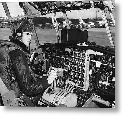 C-130 Cockpit Metal Print by Underwood Archives