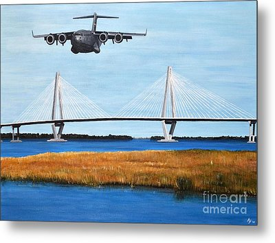 C-17 And Ravenel Bridge Metal Print