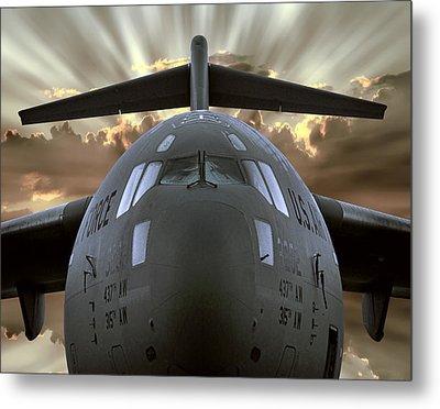 C-17 Globemaster Military Transport Aircraft Metal Print by Daniel Hagerman