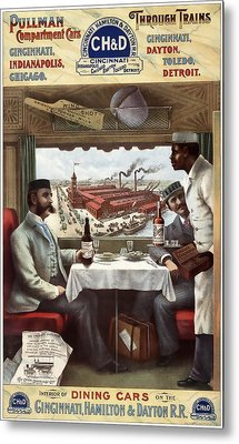 C H And D Railroad Luxury Dining 1894 Metal Print by Daniel Hagerman
