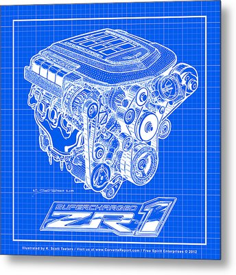 Metal Print featuring the drawing C6 Zr1 Corvette Ls9 Engine Blueprint by K Scott Teeters