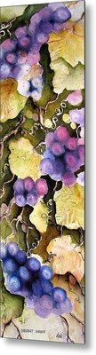 Metal Print featuring the painting Cabernet Harvest 2 by Marti Green