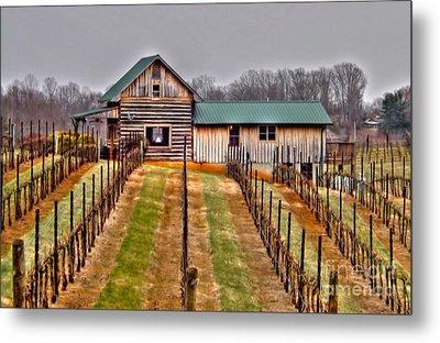 Cabin At Autumn Creek Vineyard Metal Print