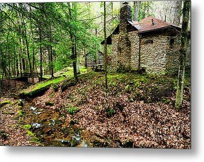 Cabin By A Creek Metal Print by Thomas R Fletcher