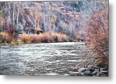 Metal Print featuring the photograph Cabin By The River In Steamboat,co by James Steele