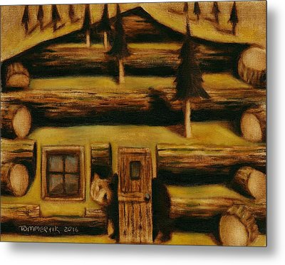 Metal Print featuring the painting Cabin Fever Grizzly Bear Art Print by Tommervik