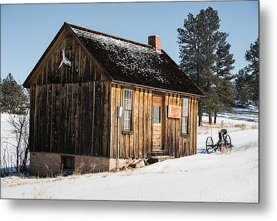Cabin In The Snow Metal Print