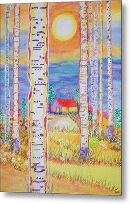 Metal Print featuring the painting Cabin In The Woods by Connie Valasco