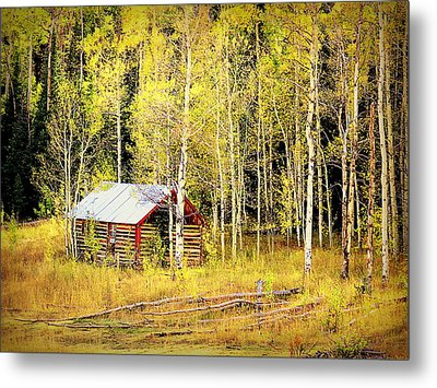 Cabin In The Golden Woods Metal Print