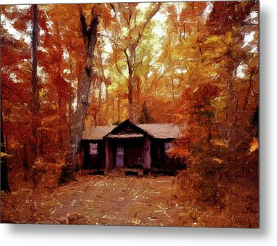 Metal Print featuring the painting Cabin In The Woods P D P by David Dehner