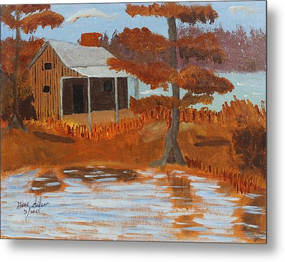 Cabin On Lake Metal Print