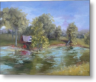 Cabin On The Pond Metal Print by Donna Pierce-Clark