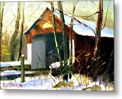 Cabin Run Covered Bridge Metal Print by Kit Dalton