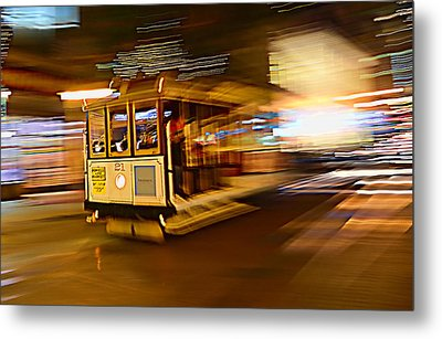 Metal Print featuring the photograph Cable Car At Light Speed by Steve Siri