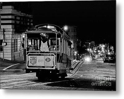 Cable Car At Night - San Francisco Metal Print