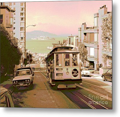 Cable Car On Hyde Street Hill San Francisco Metal Print by Padre Art
