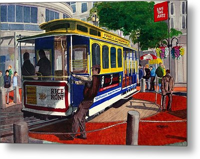 Cable Car Turntable At Powell And Market Sts. Metal Print